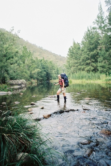 Crossing the Kowmung River on the Mittagong to Katoomba 7 day trip. My trusty first pack - Macpac Glissade - a whopping 75ltr pack.