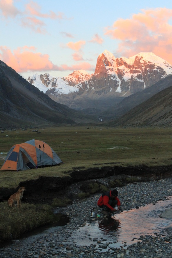Sunset on the Huayhuash Circuit, Peru.